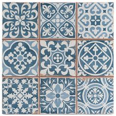 Victorian Tangier Blue Decor Wall & Floor Tile 33x33cm (Per Tile) in Home, Furniture & DIY, DIY Materials, Flooring & Tiles | eBay!