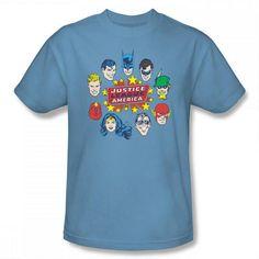 Justice League head Circle Tee  Superman, Batman, Green Lantern, Green Arrow, Flash, ?, Wonder Woman, ? Aquaman