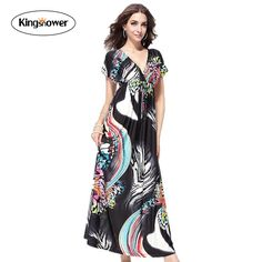 2016 New Summer Bat Sleeve Bohemian Maxi Dress Women Deep V Neck Sexy Floral Print Beach Dresses Vestidos Plus Size 6XL JA1033