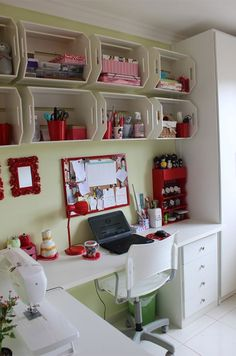 21 New Ideas For Home Office Storage Ideas Sewing Spaces Sewing Room Organization, Craft Room Storage, Wall Storage, Craft Rooms, Storage Boxes, Office Storage, Wall Shelves, Storage Organization, Storage Ideas