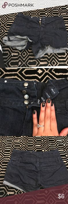 High waisted Jean shorts As shown. Like new. Juniors 13. Fits womans large Shorts Jean Shorts