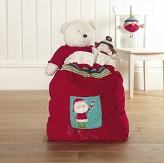 A beautiful toy sack to fill with lots of special surprises this Christmas Toys, Christmas 2014, Santa Sack, Velour Fabric, Mamas And Papas, Santa Gifts, Kids Decor, Decoration, Baby Gifts