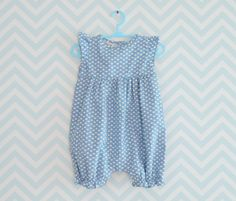 Baby Girl Rompers Infant romper with hearts Blue by Melimebaby, $45.00
