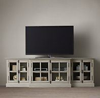 "French Casement 100"" Glass Media Console"