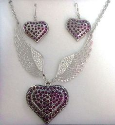 Amethyst Stone Heart Angel Wings Necklace & Earring Set - FREE SHIPPING #HEARTS #NEKCLACE #BUY