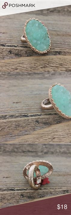Adjustable Jade Druzy Gold Ring Adjustable Jade Druzy Gold Ring. Green portion of the ring measures 1.25 inches long x 1/2 inch wide. Open to offers. No trades. Jewelry Rings
