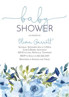 Excited to share this item from my shop: Boy Baby Shower Invitation Blue Light Blue Navy Watercolor Flowers Digital Printable Baby Shower Invitations For Boys, Baby Shower Printables, Floral Baby Shower, Baby Boy Shower, Signs For Mom, Navy Flowers, Floral Flowers, Baby Shower Invitaciones, Star Baby Showers