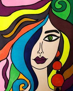 Girl Drawings, Rainbow Hair, Snow White, Disney Characters, Fictional Characters, Aurora Sleeping Beauty, Doodles, Paintings, Disney Princess