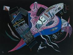 Concentré , 1937 by WASSILY KANDINSKY (FRENCH, RUSSIAN, 1866 - 1944) Materials: Watercolor, gouache and colored ink on black paper laid down on board Measurements: 19.49 in. (49.50 cm.) (height) by 25.39 in. (64.50 cm.) (width) Markings: Signed with the monogram and dated 37 (lower left); inscribed no. 573, dated 1937 and titled on the reverse of the board Fine Art Prints, Framed Prints, Canvas Prints, Wassily Kandinsky Paintings, Heritage Image, Art For Sale, Art Images, Art Reproductions, Gifts In A Mug