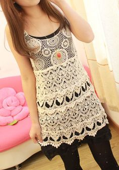 Long Fit Crochet Tank