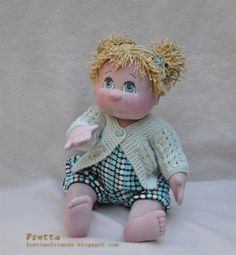 "soft sculpture dolls | 33 cm / 13"" Soft Sculpture Baby Girl, Child Friendly Cloth Doll."