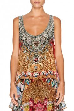 Camilla - Alerting Perception / Scoop Neck Top with Long Back $399.00