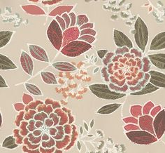 Sulu (T13041) - Thibaut Wallpapers - A bold large scale stylised floral trail in a beautiful  hand painted effect shown in beige with pink green and blue. Please request a sample for true colour match. This is an American wallcovering and will take between 7-10 working days for delivery. Wide width.