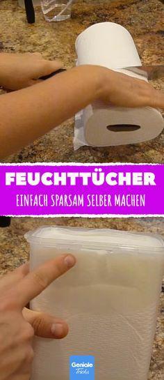 Sie zerschneidet Küchenpapier und macht es triefend nass. Der Grund ist grandios! #küchentücher #feuchttücher #hygienetücher #selbermachen #diy