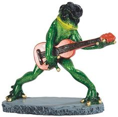 6.5 Inch Elvis Frog Playing Guitar Figurine Statue Animal Amphibian Decor
