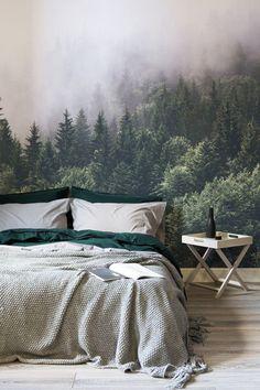 Gorgeous mural #bedroom #walls #wallpaper #mural #woodsy #cabin #apartment #decor #hygge #Scandi