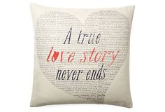 "One Kings Lane - Pillow Talk - ""Love Story"" 20x20 Pillow, White"