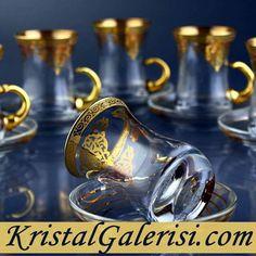 Set of 6 #Turkishcups with #holder #handles-#Kristal #Galerisi #Turkishtea #glasses #teaset. #Great #Turkish #teaglasses #set but # cheap tea galsses set .