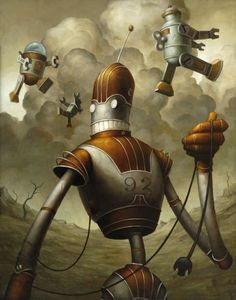 #Robot #illustration with fish by Brian Despain http://dizy.be/c624a8 #surreal #sci-fi #grey #yellow #tech