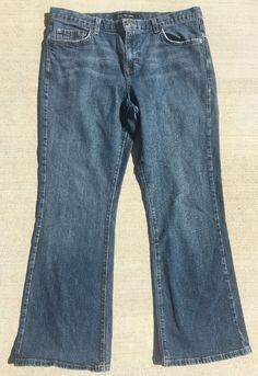 Calvin Klein Women's Jeans Distressed Faded Flare Leg CK Size 14 EUC Free Ship #CalvinKlein #Flare