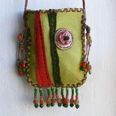 TAKE ME BOWLING deerskin Leather amulet, necklace, Medicine Bag retro. $52.00, via Etsy.