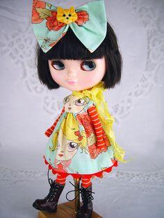 Blythe, Blythe dress, Blythe clothes, Blyth clothing, Blythe cats, Blythe tights, Blythe hair bow. by TheDollsDresser by TheDollsDresser on Etsy