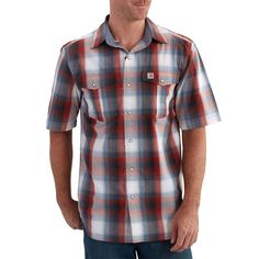 Carhartt 102534 Bozeman Short Sleeve Shirt- Chili