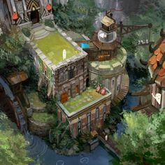 카페 Environmental Architecture, Environmental Design, Fantasy Places, Game Concept Art, Building Art, Cg Art, Environment Concept Art, 3d Prints, Fantasy Landscape