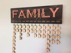 Calendario de cumpleaños familiar modificado para requisitos