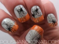 Holiday nail art, Halloween white nails with orange french manicure style tips spider webs free hand nail art Fancy Nails, Love Nails, How To Do Nails, Pretty Nails, My Nails, Glitter Nails, Halloween Nail Designs, Halloween Nail Art, Halloween Spider