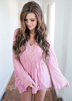 Lace and Amor Romper Mauve CLEARANCE