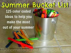 The Home Teacher: Summer Bucket List: color coded: yellow: outdoor fun, red: arts crafts, orange: science, green: adventures/places to visit blue: cooking/food purple: Learning activities, tan: miscellaneous. Fun Bucket, Summer Bucket Lists, Summer Activities, Family Activities, Learning Activities, Indoor Activities, Summer Kids, Summer School, Pink Summer