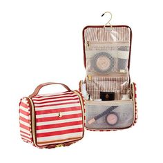 Our Calypso Stripe Hanging Toiletry Organizer is a beautiful option for travel, but can easily double as a compact cosmetics bag for every day.