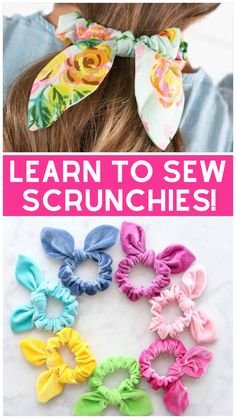 Learn How to Make a Scrunchie with a Bow the Easy Way Using this FREE Sewing Pattern and Step-By-Step Tutorial. Making Hair Bows, Diy Hair Bows, Diy Bow, How To Make Headbands, Sewing Projects For Beginners, Sewing Tutorials, Sewing Crafts, Diy Crafts, Sewing Patterns Free
