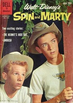 I never actually saw Spin and Marty on The Mickey Mouse Club. But I grew to love the characters from my older brother's Dell comic books. Comic Book Covers, Comic Books, 60s Tv Shows, Vintage Comics, Vintage Tv, Vintage Stuff, Disney Live, Walt Disney, Disney Parks