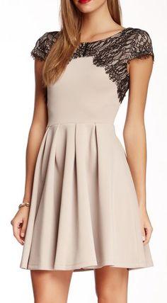 Betsey Johnson Cap Sleeve Lace Skater Dress