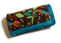 Baby Boy Blanket in Flannel Geckos and Minky by Hattie Designs