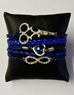 Royal Blue Leather Like Multi Strand Bracelet with Scissor and Infinity Symbol Charms #Royal #Blue #Bracelet #Scissor #Charm #Fashion #Hair #Stylist #Salon  $15.00 http://www.shearbling.com/catalog.php?item=454