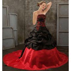 GOTH WEDDING dress | Black and Red Strapless Gothic Wedding Dress - DevilInspired.co.uk