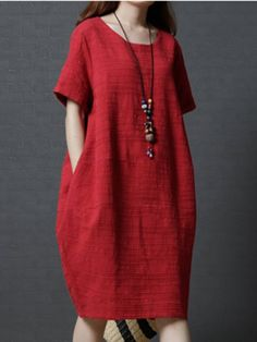 ffc2a4062a Buy Linen Dress For Women from VIVID LINEN at Stylewe. Online Shopping  Stylewe Crew Neck