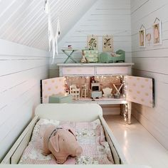 Gorgeous tiny mint + blush girls room-love the fairy lights in the dresser!  photographed by Jonas Ljungberg for Bolig Pluss