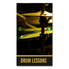 Drum Lessons, Instrument Music Instructor Business Card Templates. This great business card design is available for customization. All text style, colors, sizes can be modified to fit your needs. Just click the image to learn more!