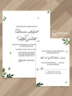 Pressed Leaves inspired Invitation and RSVP Free PDF Templates. Easy to edit and print at home. For nature loving couples who wish to incorporate some greens in their wedding