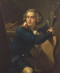 Gandolfi Mauro - Autoritratto - 1792 / 1794 - Pinacoteca Bologna    Featuring a transitional guitar: 10 strings model, but using only 5 single strings