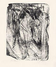 Kirchner, Dame im Regen (Dame sous la pluie), 1914, lithographie, 42,3 x 31,5 cm