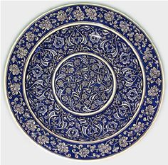 Charger with rumi motif and fig leaves, Iznik, 40 cm. Turkish Art, Turkish Tiles, Art Du Monde, Fig Leaves, Art Drawings Sketches Simple, Blue China, Islamic Art, Art And Architecture, Traditional Art