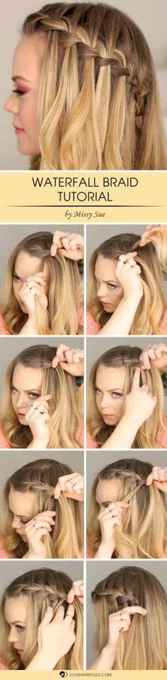 Waterfall Braid Step by Step