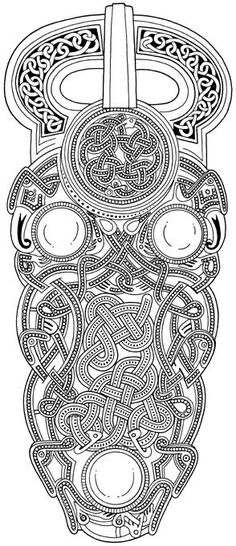 Norse Knots inspiration mandala zentangle Norse carving pattern looks to be based on the Sutton Hoo buckle Norse Tattoo, Celtic Tattoos, Viking Designs, Celtic Designs, Celtic Symbols, Celtic Art, Celtic Dragon, Anglo Saxon Tattoo, Viking Pattern