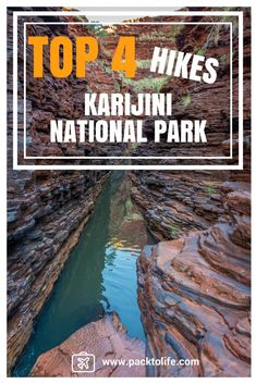 Top 4 hikes in Karijini national park Australia. Coast Australia, Australia Travel, Western Australia, Travel Tours, Travel Destinations, West Coast Road Trip, East Coast, Hiking Spots, Adventure Activities