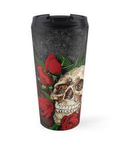 Red Rose Sugar skull Travel Mugs #mug #travelmug #skull #skeleton #dayofthedead #diasdemuertos #jackskellingtons #halloween #scary #thenightbeforechristmas #animal #bone #tattoo #hippie #hipster #aztec #maya #indian #mexico #mexican #hauntedmansion #ghost #monster #flower #rose #sugarskull